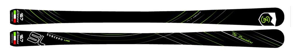 167 sl Subzero line skis handcrafted skis